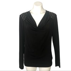 MICHAEL Michael Kors Black Studded Shoulder Top, M